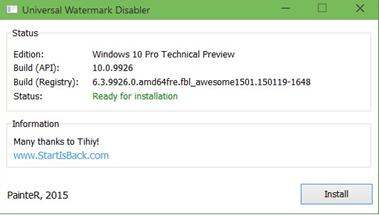 การลบ Watermark บนเดสก์ทอป สำหรับ Windows 10