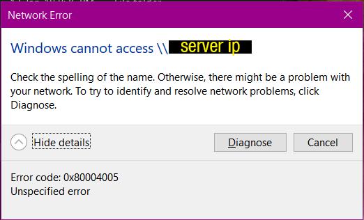 0x80004005 7zip Error